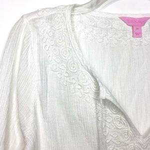 Lilly Pulitzer White Embroidered Delano Tunic Sz M